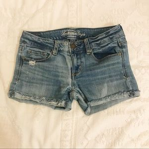 American Eagle Stretch Jean Shorts Light Wash